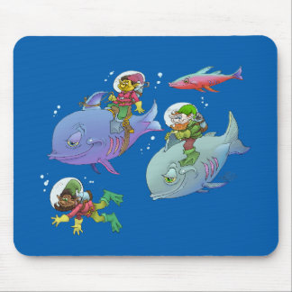 Cartoon illustration Gnomes and there fish friends Mouse Pad
