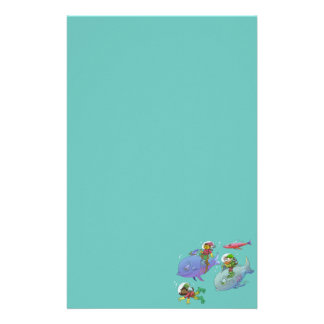 Cartoon illustration Gnomes and there fish friends Stationery