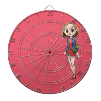 Cartoon illustration of a beautiful Asian woman. Dart Board