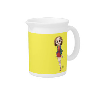 Cartoon illustration of a beautiful Asian woman. Drink Pitcher