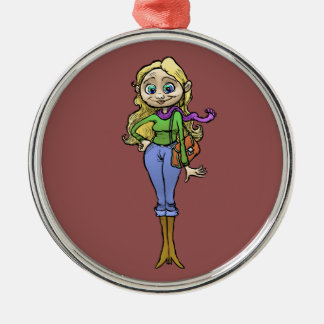 Cartoon illustration of a beautiful woman. metal ornament