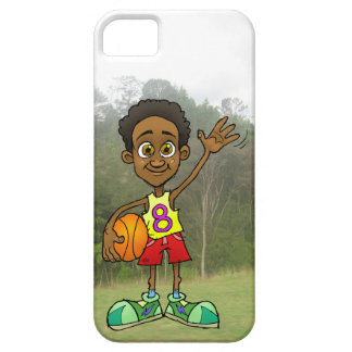 Cartoon illustration of a boy holding a ball. iPhone SE/5/5s case