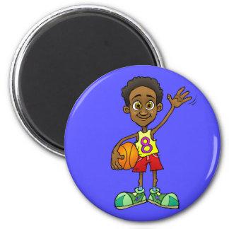Cartoon illustration of a boy holding a ball. magnet