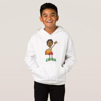 Cartoon illustration of a boy holding a basic ball hoodie