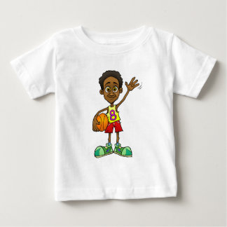 Cartoon illustration of a boy holding a basket bal baby T-Shirt