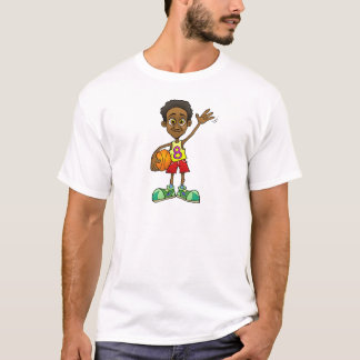 Cartoon illustration of a boy holding a basket bal T-Shirt