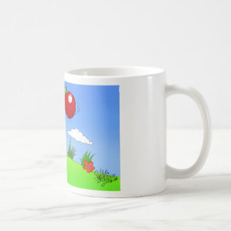 Cartoon illustration of a boy kicking a tomato. coffee mug