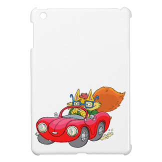 Cartoon illustration, of a cat driving a car. case for the iPad mini