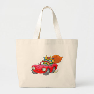 Cartoon illustration, of a cat driving a car. large tote bag