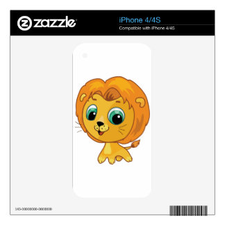 Cartoon illustration of a cute lion iPhone 4S skins