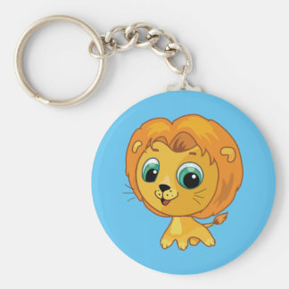 Cartoon illustration of a cute lion keychain