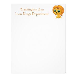 Cartoon illustration of a cute lion letterhead
