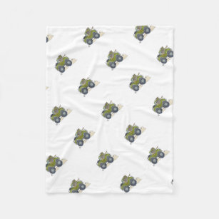 Cartoon Ilration Of A Elephant Driving Jeep Fleece Blanket