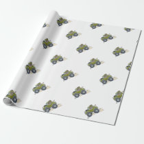 Cartoon illustration of a Elephant driving a jeep. Wrapping Paper