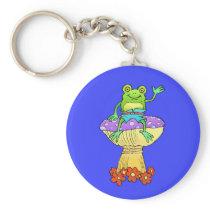 Cartoon illustration of a frog, on a keychain. keychain