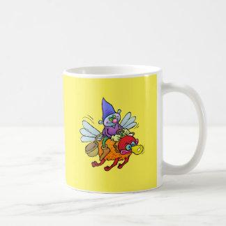 Cartoon illustration of a gnome riding a bee, mug. coffee mug
