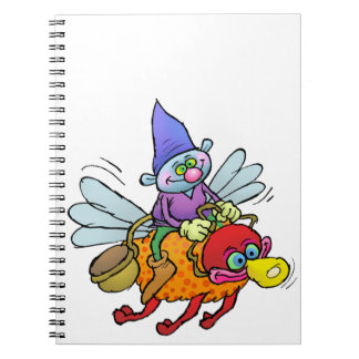 Cartoon illustration of a gnome riding a bee. notebook
