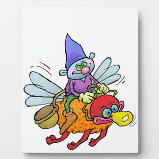 Cartoon illustration of a gnome riding a bee. plaque