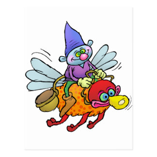Cartoon illustration of a gnome riding a bee. postcard