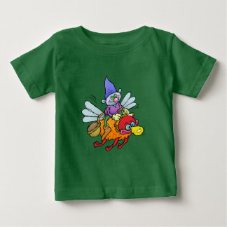 Cartoon illustration of a gnome riding an bee. baby T-Shirt