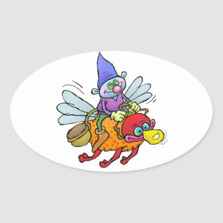 Cartoon illustration of a gnome riding an bee. oval sticker