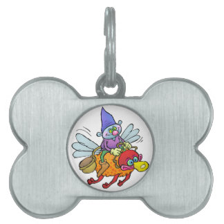 Cartoon illustration of a gnome riding an bee. pet name tag