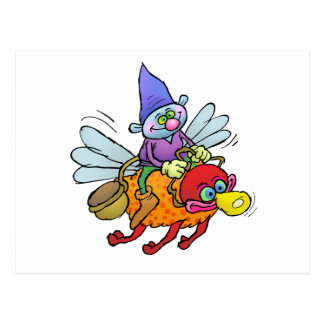 Cartoon illustration of a gnome riding an bee. postcard