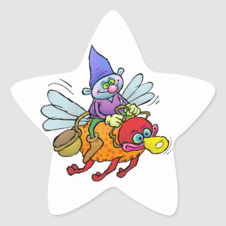 Cartoon illustration of a gnome riding an bee. star sticker