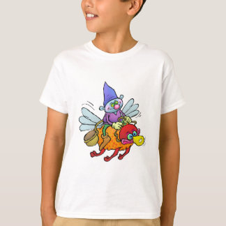 Cartoon illustration of a gnome riding an bee. T-Shirt