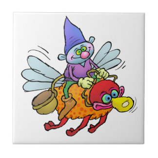 Cartoon illustration of a gnome riding an bee. tile