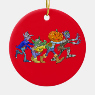 Cartoon illustration of a Halloween congo. Ceramic Ornament