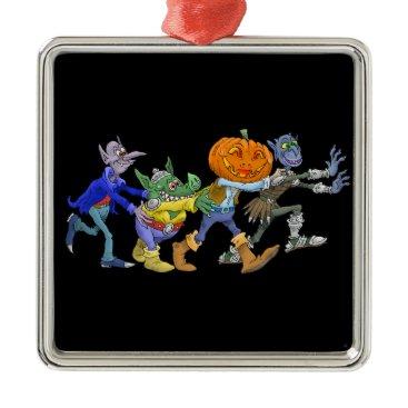 Halloween Themed Cartoon illustration of a Halloween congo. Metal Ornament