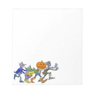 Cartoon illustration of a Halloween congo. Notepad