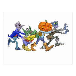 Cartoon illustration of a Halloween congo. Postcard