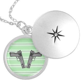 Cartoon Illustration Of A Modern Pistol Locket Necklace