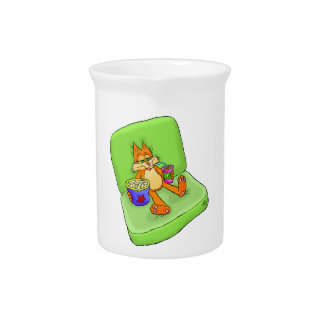 Cartoon illustration of a relaxing cat. pitcher