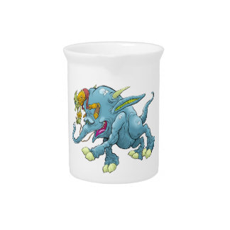 Cartoon illustration, of a running creature. beverage pitchers