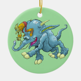 Cartoon illustration, of a running creature. ceramic ornament