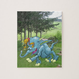 Cartoon illustration, of a running creature. jigsaw puzzle