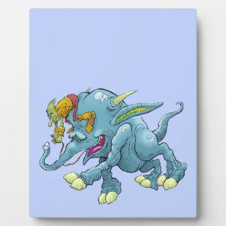 Cartoon illustration, of a running creature. plaque