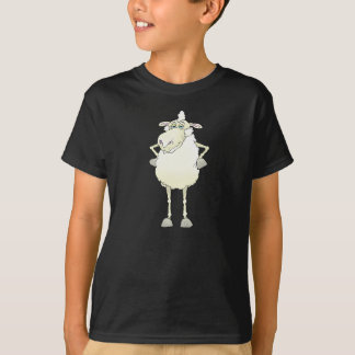 Cartoon illustration of a sheep on a black t-shirt