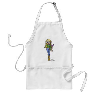 Cartoon illustration of a shopping woman, apron. adult apron