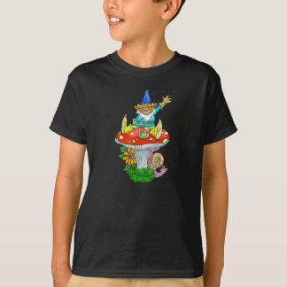 Cartoon illustration of a sitting waving gnome. T-Shirt