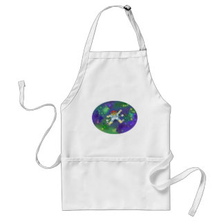 Cartoon illustration, of a space gnome, apron. adult apron