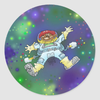 Cartoon illustration, of a space gnome, badge. classic round sticker