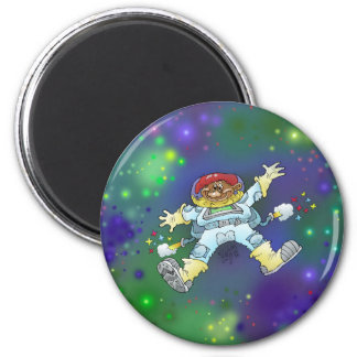 Cartoon illustration, of a space gnome, badge. magnet