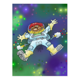 Cartoon illustration, of a space gnome, card. postcard