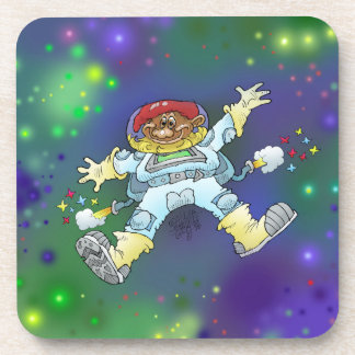 Cartoon illustration, of a space gnome, coaster. drink coaster