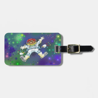 Cartoon illustration, of a space gnome. luggage tag