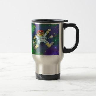 Cartoon illustration, of a space gnome, mug. travel mug